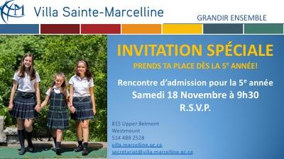 Admissions en 5e année à la Villa Sainte-Marcelline
